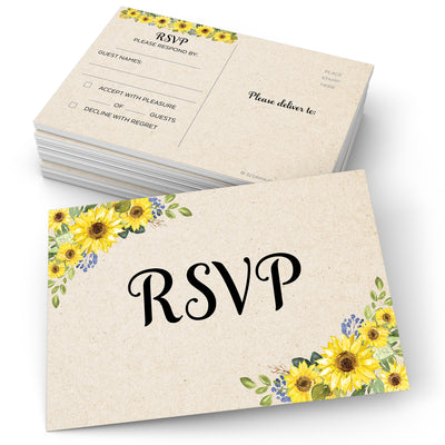 RSVP Post Cards -Sunflower, Tan