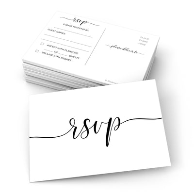 RSVP Post Cards - 3.5x5 - Simple Script, White 2S