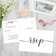 RSVP Post Cards - Simple Script, White