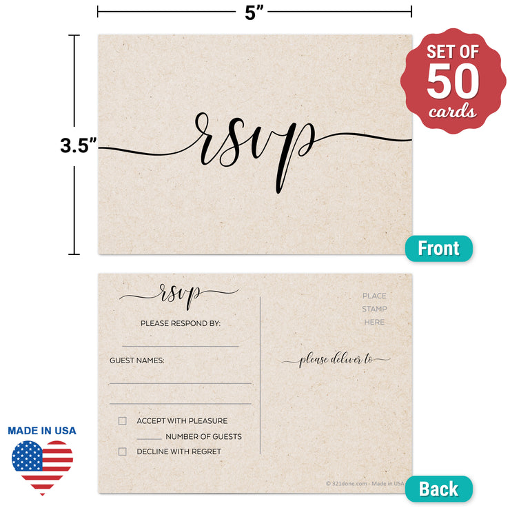 RSVP Post Cards - 3.5x5 - Simple Script, Tan