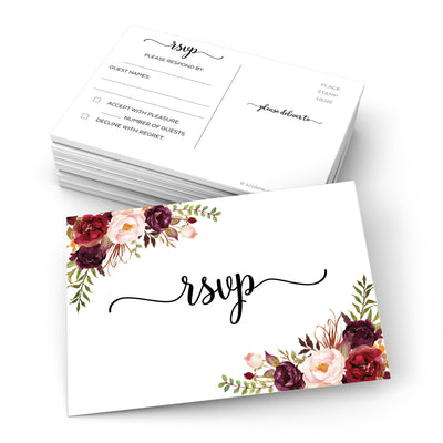 RSVP Post Cards - 3.5x5 - Red Roses, White 2S