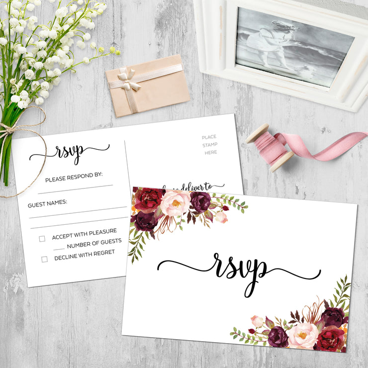 RSVP Post Cards - Red Roses, White