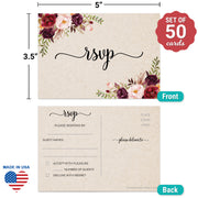 RSVP Post Cards - 3.5x5 - Red Roses, Tan 2S