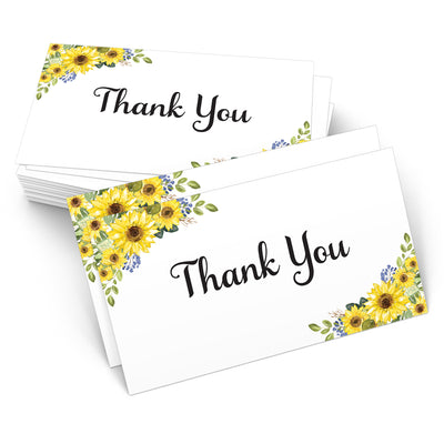 Thank You Note Cards - 3.5x2- Sunflower, White