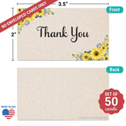 Thank You Note Cards - 3.5x2- Sunflower, Tan