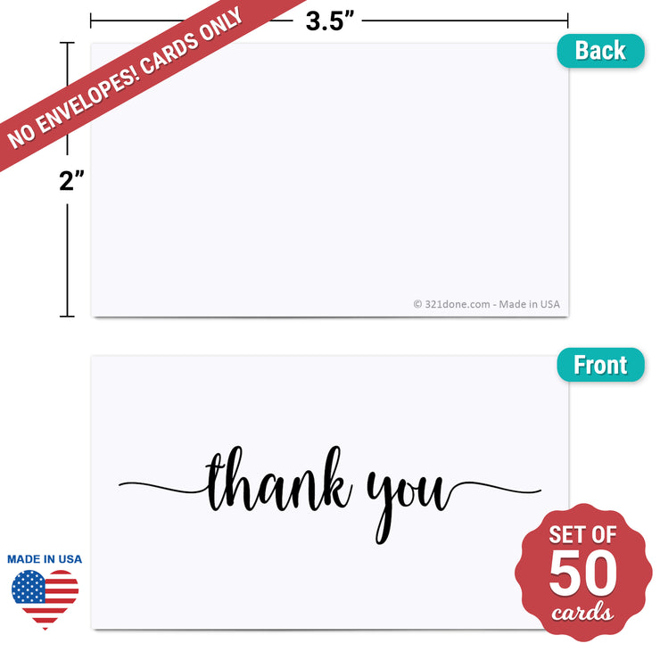 Thank You Note Cards - 3.5x2 - White