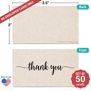 Thank You Note Cards - 3.5x2 - Tan
