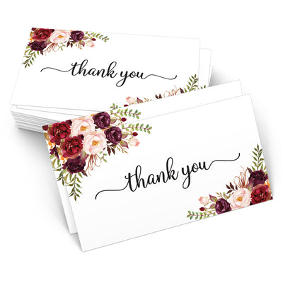 Thank You Note Cards - 3.5x2 - Red Roses, White