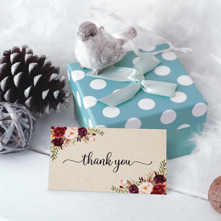 Thank You Note Cards - 3.5x2 - Red Roses, Tan