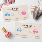 Baby Gender Voting Cards  - Tan