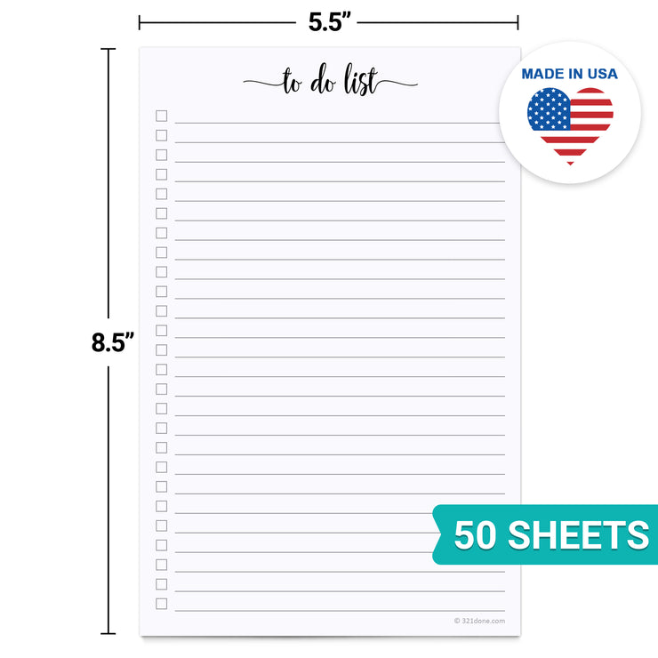 To Do List Notepad - 5.5x8.5- Simple Script