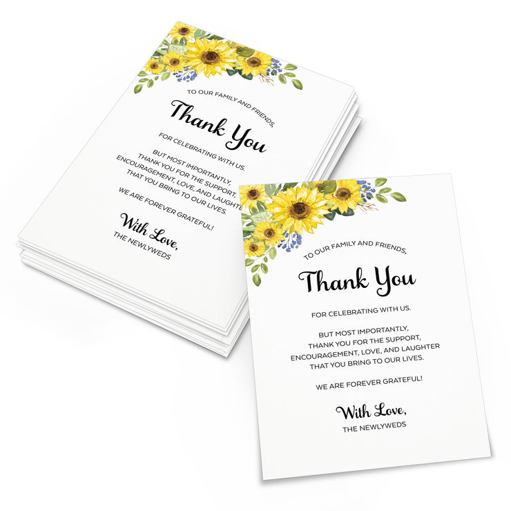Thank You Place Cards - 4x6 - Sunflower, White