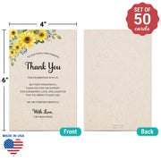 Thank You Place Cards - 4x6 - Sunflower, Tan