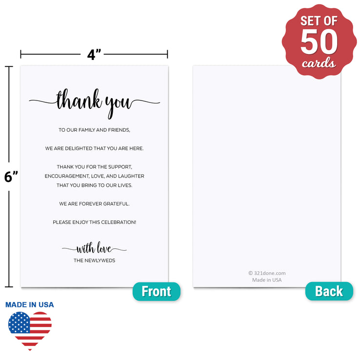 Thank You Place Cards - 4x6 - Simple Script, White