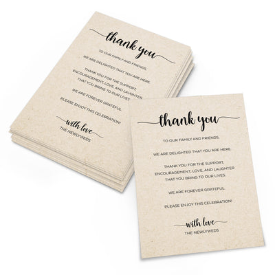 Thank You Place Cards - 4x6 - Simple Script, Tan