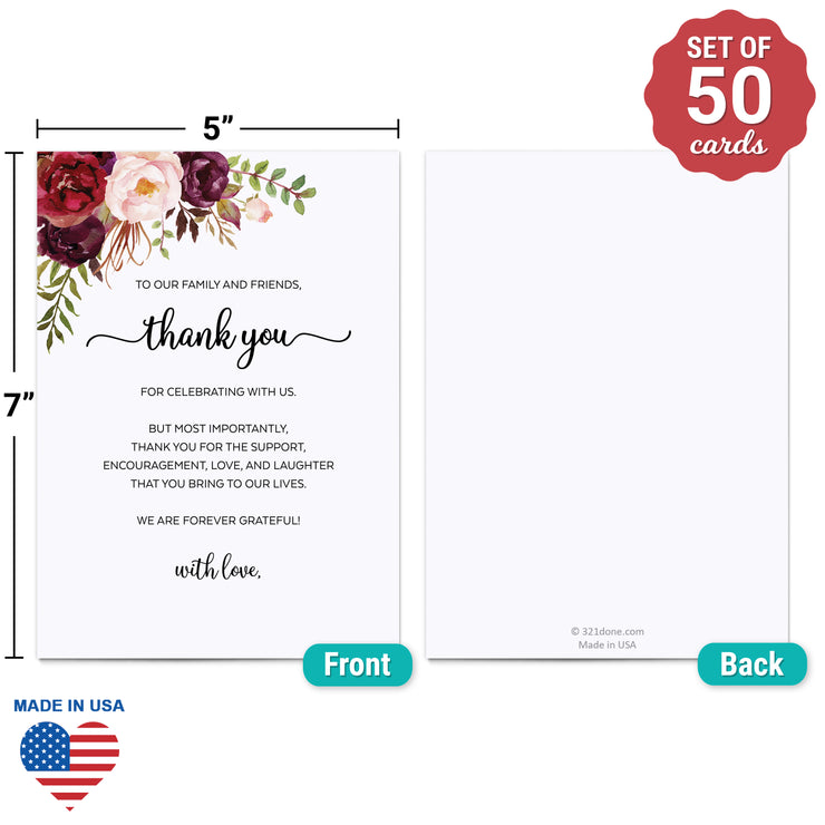 Thank You Place Cards - 5x7 - Red Roses, White
