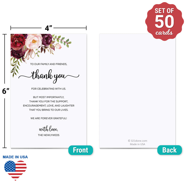 Thank You Place Cards - 4x6 - Red Roses, White
