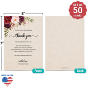 Thank You Place Cards - 5x7 - Red Roses, Tan