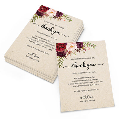 Thank You Place Cards - 4x6 - Red Roses, Tan