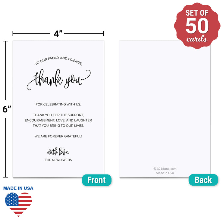 Thank You Place Cards - 4x6 - Modern Scribble, White