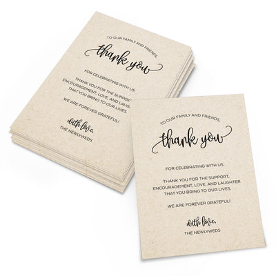 Thank You Place Cards - 4x6 - Modern Scribble, Tan