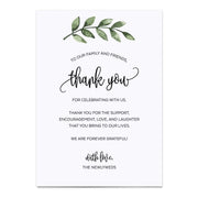 Thank You Place Cards - 5x7 - Green Leaves, White