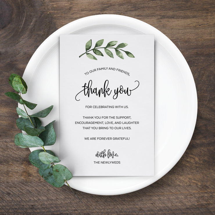 Thank You Place Cards - 4x6 - Green Leaves, White