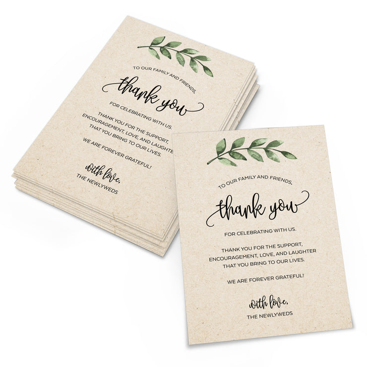 Thank You Place Cards - 4x6 - Green Leaves, Tan
