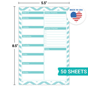 Weekly Plan Notepad, Chevron Teal