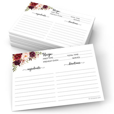 Recipe Cards - 5x7 - Red Roses, White (Classic Notes/From)