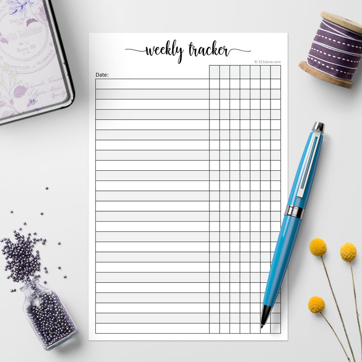 Weekly Tracking Notepad, 5.5x8.5 - Blank Days of Week, Simple Script
