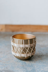 Rattan and Metal Pot, 7.75 or 9.75 inches