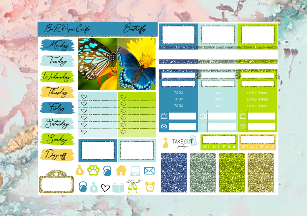 Butterfly Micro kit | Standard Vertical Planner Stickers