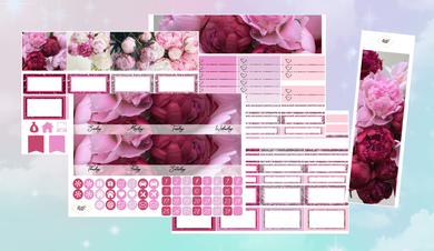 Peonies Monthly kit | EC Planner Stickers
