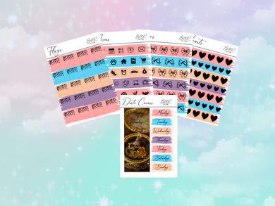 Anastasia PP weeks add on | Foil Planner Stickers| EC Planner Stickers