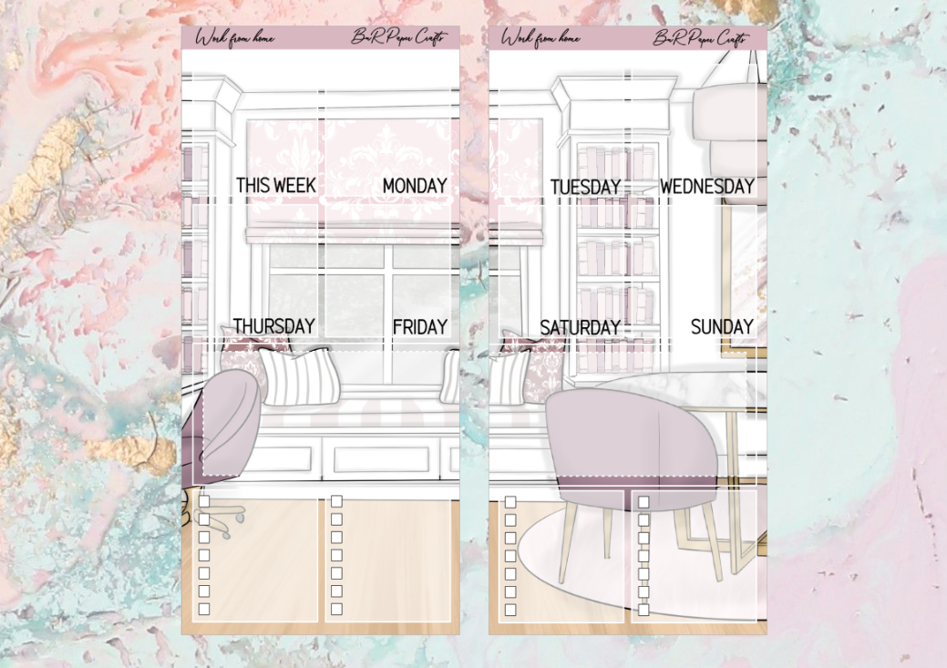 Work from home Ideas full page kit | Weeks Vertical Planner Stickers