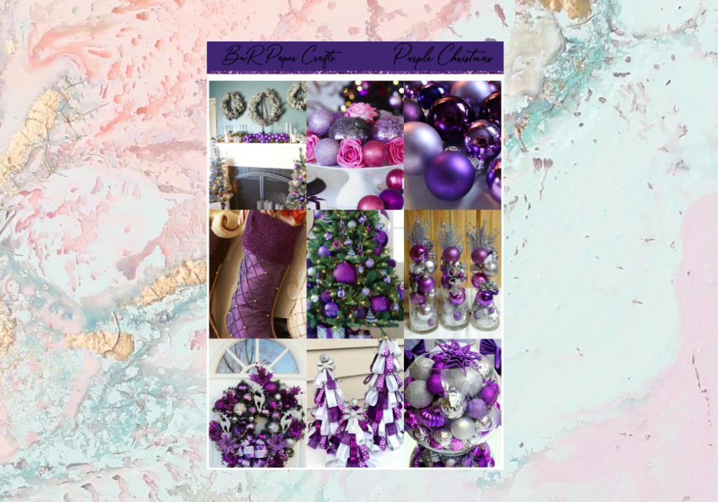 Purple Christmas FULL BOXES only | Standard Vertical Planner Stickers