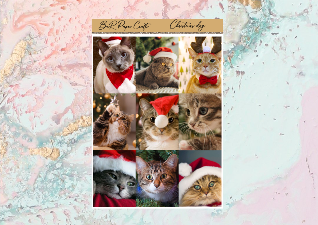 Christmas cat Deluxe kit | Standard Vertical Planner Stickers
