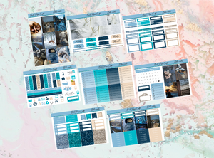 Blue winter Deluxe kit | Standard Vertical Planner Stickers