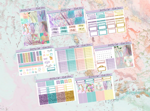 Rainbow unicorn Deluxe kit | Standard Vertical Planner Stickers