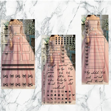 Pink dress hobonichi kit | Foil Planner Stickers