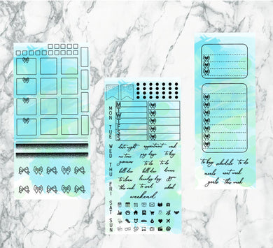 Blueish turtle hobonichi kit | Foil Planner Stickers