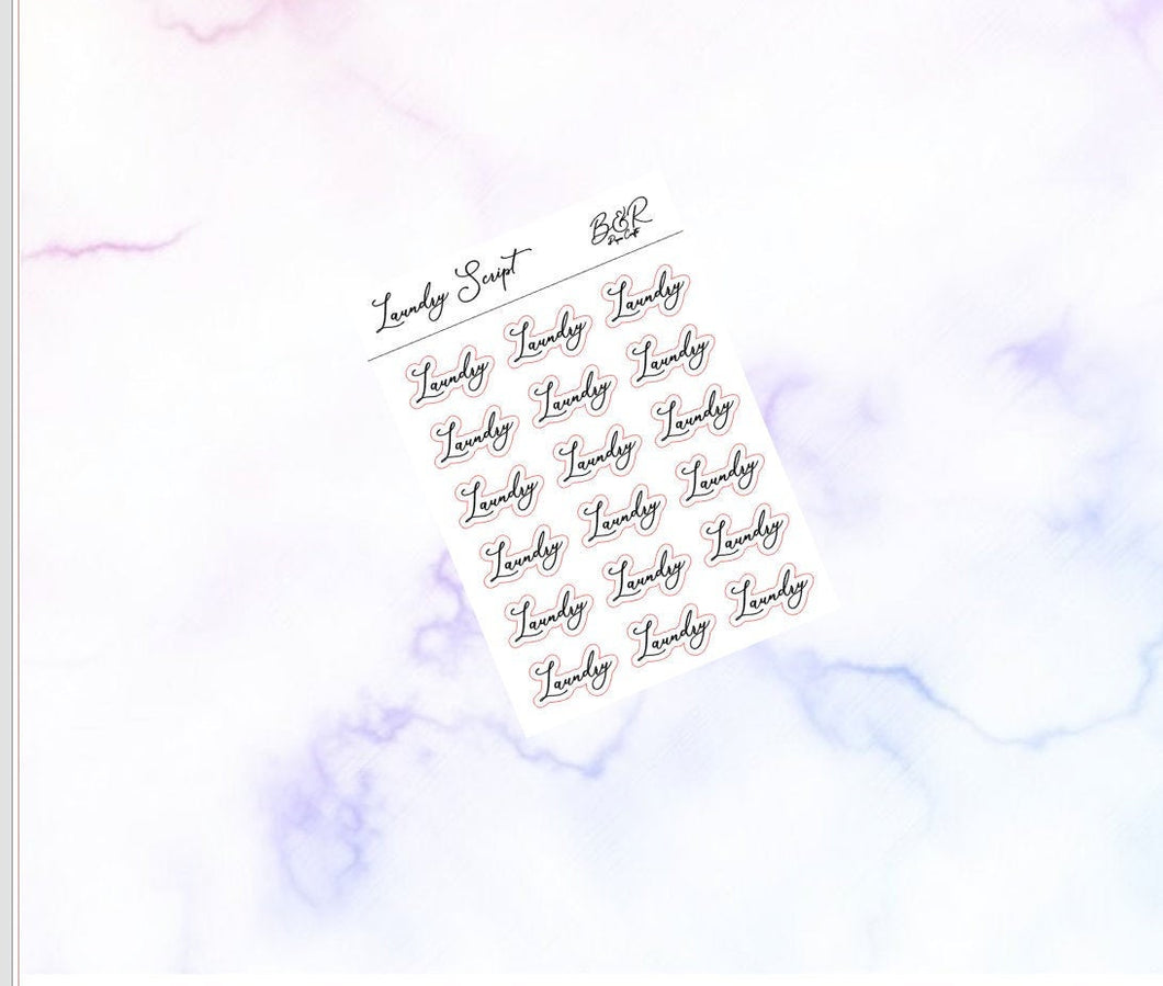 Laundry foil scripts | Foil Planner Stickers | EC Planner Stickers