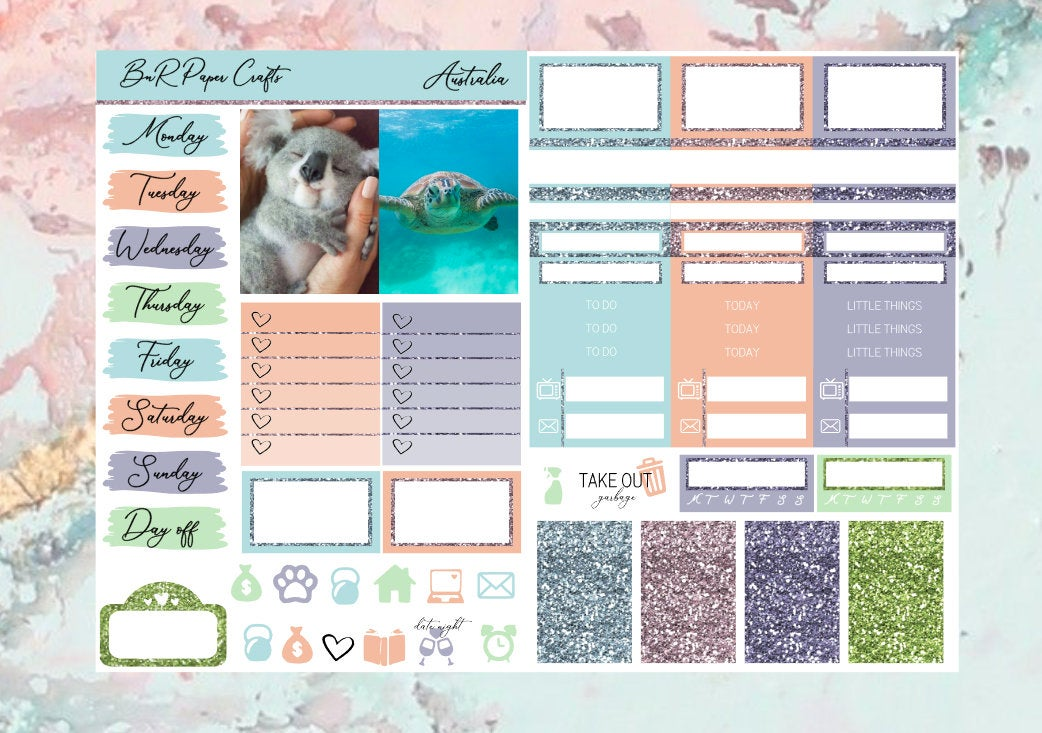 Australia Micro kit | Standard Vertical Planner Stickers