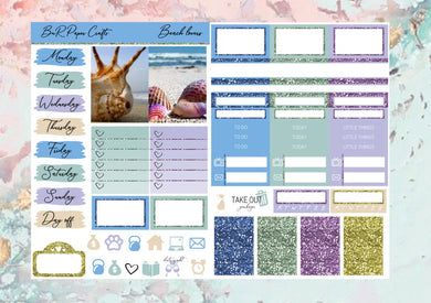Beach love Micro kit | Standard Vertical Planner Stickers