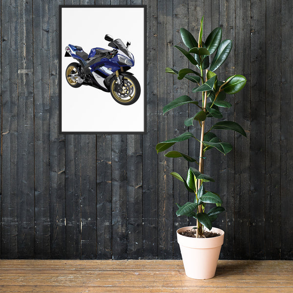 Blue and white Yamaha R1 Hand Drawing Custom Personalised With Gold Rims