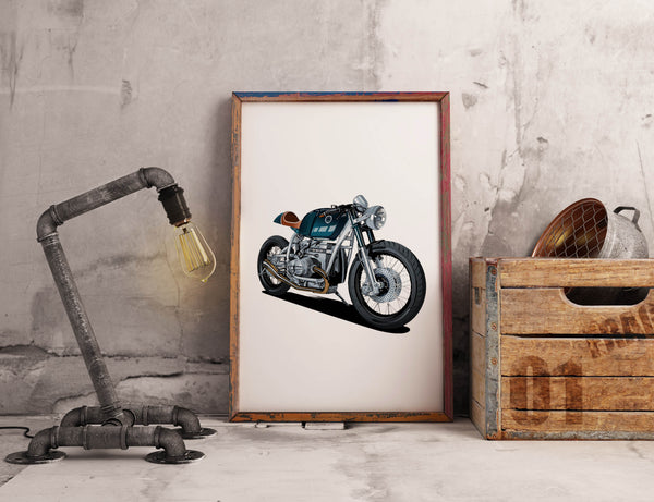 Old School Cafe racer hand drawn personalised Suzuki Honda Example  Custom Service