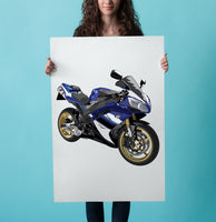 Blue White Yamaha R1 drawing Sports bike personalised hand drawing art work framed detailed drawing services UK USA Race bike drawing sports bike brembo yoshimura exhaust drawing Petrol head gift ideas