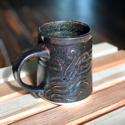 Black Granite Stein- Kiln Fired by Kelly Handmade Mug