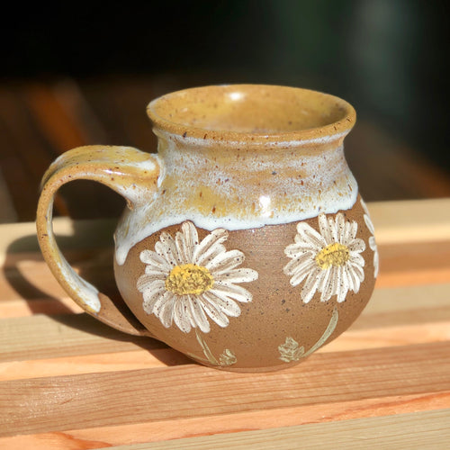 White Daisies (5)- Kiln Fired by Kelly Handmade Mug
